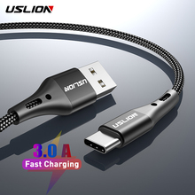 USLION 3A Type C Cable for Samsung S10 S9 Plus USB C Fast Charging Cord For Xiaomi mi9 Huawei Mobile Phone USB-C Charger Wire kmpte 5a fast charging usb type c cable for huawei xiaomi usb c charger with les type c for samsung s20 s9 s8 plus s10 cord wire