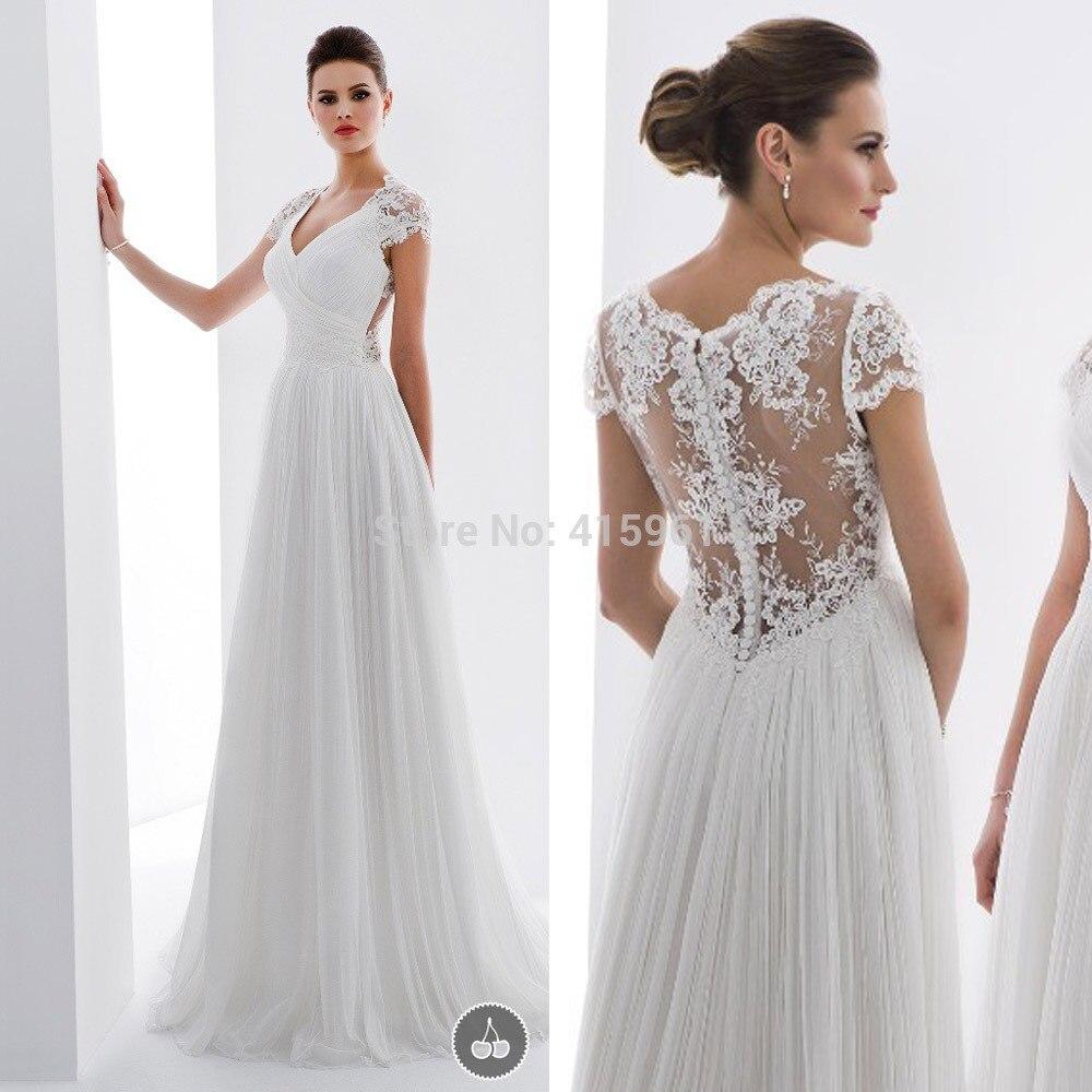 2019 New Simple Cheap Wedding Dress Lace Cap Sleeve Bridal Dresses Tulle Vestido De Noiva Robe De Mariee Marriage Floor Length
