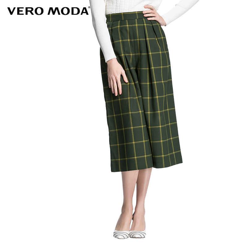 Vero Moda бренд 2019 новые три четверти брюки обычные OL-стиль боковой карман на молнии клетчатые женские широкие брюки | 31616J007