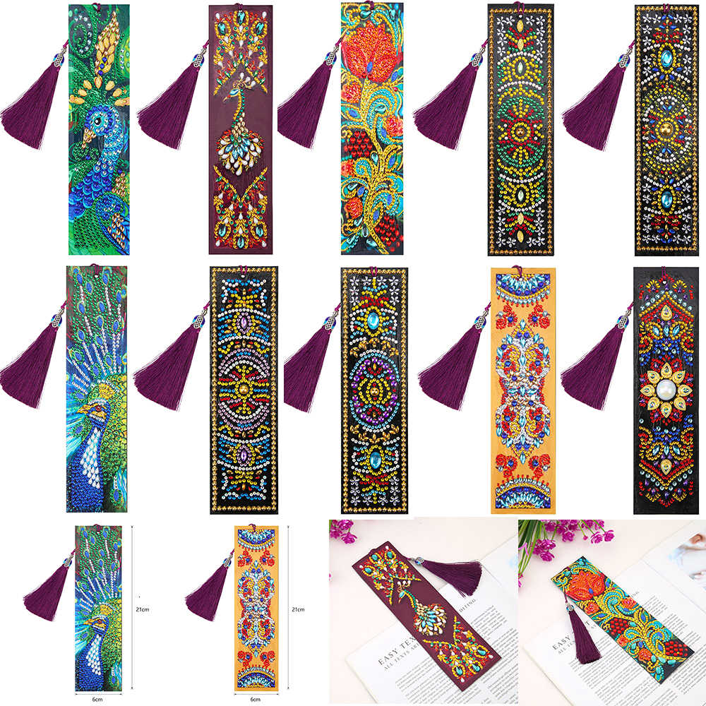Huacan 5D Lukisan Berlian Bookmark Berbentuk Khusus Diamond Art Bordir Cross Stitch Kulit Rumbai Tanda Buku