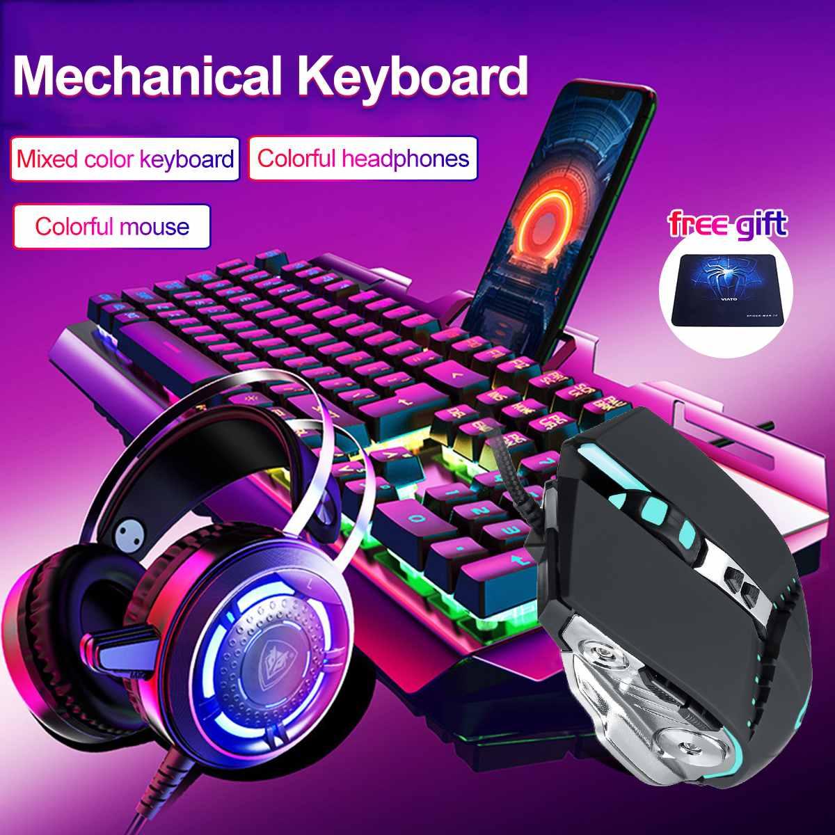 4Pcs USB 3200DPI Mouse Colorful Headset Rainbow Backlight Mechanical Keyboard Phone Holder Set Pad for Desktop Computer Notebo