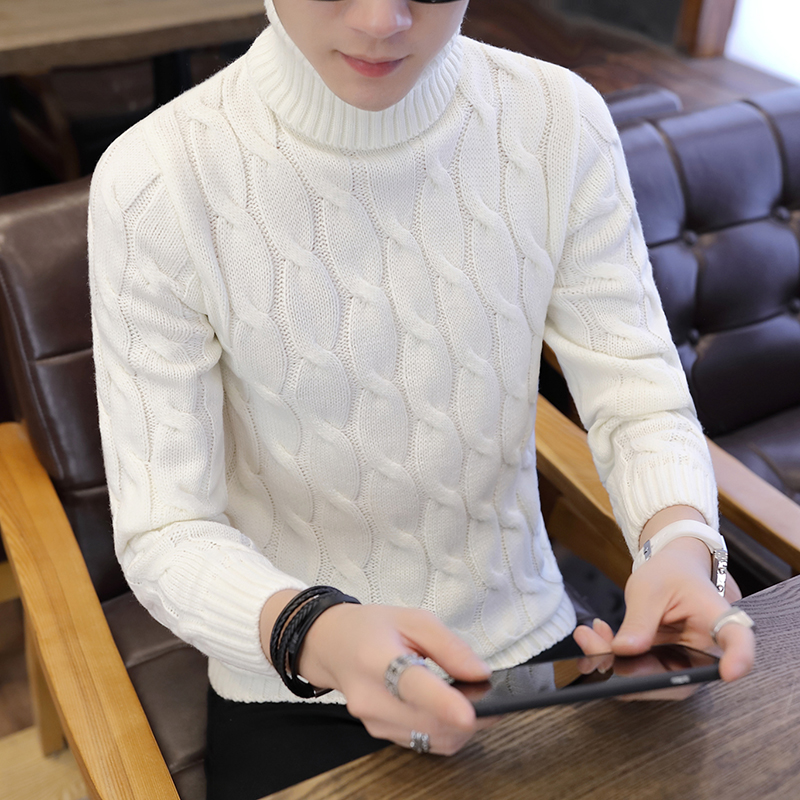 2019 Autumn New Slim Fit Men's Turtleneck Sweater Male Plaid Knitted Pullover Sweaters Casual High Neck Knitwear Sweater Tops