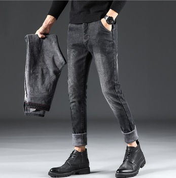 2019 Stylish Winter Thick Warm Flannel Stretch Jeans For Men High Quality Male Pants 1