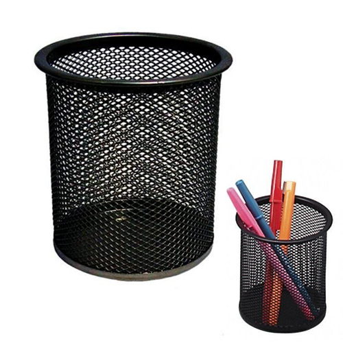 Hot Black Steel Mesh Desk Pen Pencil Organiser Cup Holder Office School Supplier UK