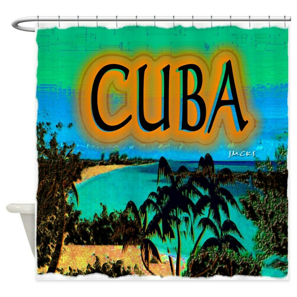 Unique Custom Cuba Beach Art Illustration Shower Curtain image