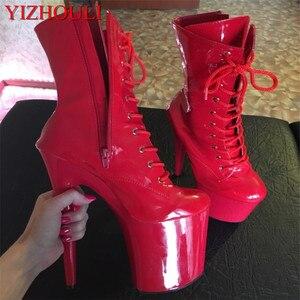 Stijlvolle En Sexy, Ridderlijke 8 Inches Hoge Hak Enkellaarsjes, geschikt Voor Vrouwen Herfst En Winter Schoenen, 20 Cm Zwart Pole Dancin(China)