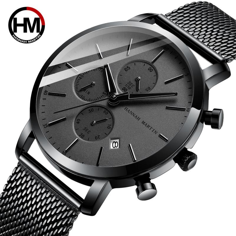 Hannah Martin Simple Ultra-thin Men Watch Casual Military Quartz Watch For Men Watches Male Clock Date Reloj Hombre Relogioes