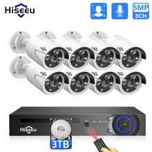 Hiseeu H.265 8CH 5MP POE Sicherheit Kamera System Kit AI Gesicht Erkennung Audio Record IP Kamera IR CCTV Video Überwachung NVR Set