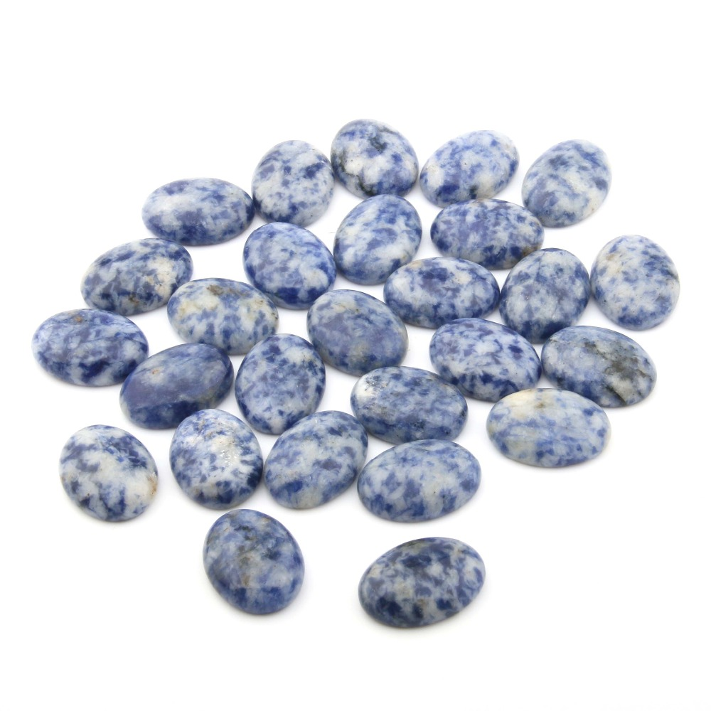 10pcs Natural Stone sodalite Cabochon No Hole Beads for Making Jewelry DIY accessories Loose Elliptical shape Beads in Jewelry Findings Components from Jewelry Accessories