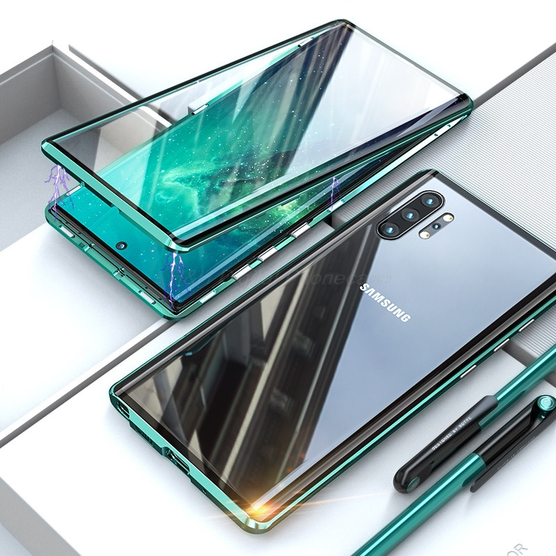 Double Sided Magnetic Metal Case For Samsung Galaxy S20 S10 S9 S8 Plus Note 10 Pro 8 9 A51 A71 A50 A70 A10 A20 A30 Glass cover