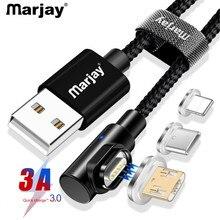 Магнитный кабель Marjay 90 градусов Micro usb type C для быстрой зарядки, магнитное зарядное устройство Microusb type-C для iphone Xs MAX xiaomi Usb-c