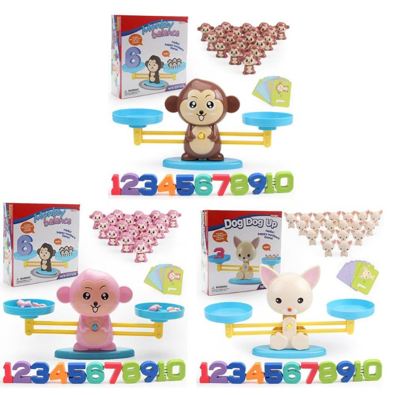Math Match Game Board Scale Toys ABS Plastics Monkey Dog Digital Balance Scale Children Educational Toy Kid Gifts image