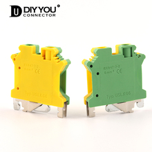1 Pcs USLKG-6N Din Rail Ground Type Screw Terminal Universal Class Electrical Connector UK-6N Ground Terminal Blocks 10pcs lot uk series yellow green ground terminal uslkg6 terminal dual row barrier uk6njd guide parts pure copper 6mm2 square