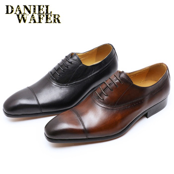 GENUINE LEATHER OXFORD DRESS SHOES MEN LACE UP CAP TOE OFFICE WEDDING SHOES BLACK BROWN BROGUE POINTED OXFORDS FORMAL SHOES MEN shidiweike new women platform oxfords brogue flats shoes suede leather lace up square toe luxury brand red black creepers b490