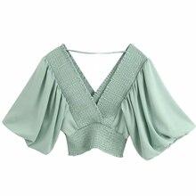 Women Solid V Neck Elastic Casual Short Smock Blouse Ladies Lantern Sleeve Chic Kimono Style Chemise