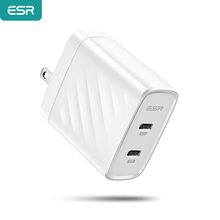 ESR Type c PD Charger 36W Dual Port Wall Charger for iPhone 11 Pro Max X XR XS Max Quick Travel Charger for iPad Samsung Xiaomi
