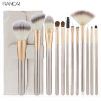 RANCAI 12 stücke Schönheit Make-Up Pinsel Set Foundation Powder Blush Lidschatten Komplette Kit Make-Up Pinsel Kosmetische Werkzeuge mit Leder