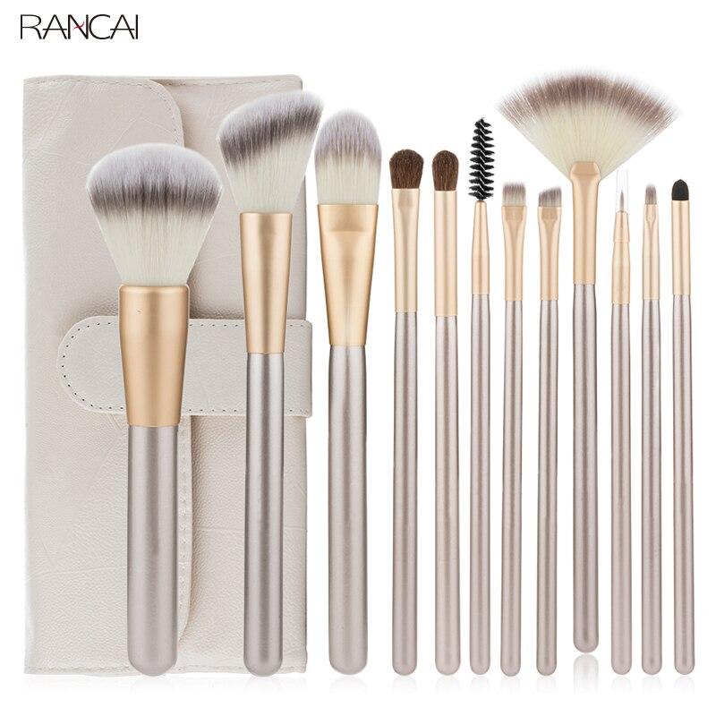 RANCAI 12pcs Beauty Makeup Brushes Set Foundation Powder Blush Eyeshadow Complete Kit Makeup Brushes Cosmetic Tools With Leather