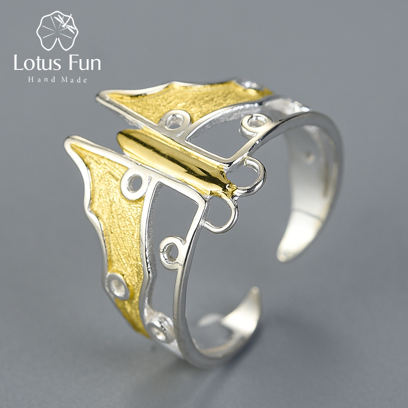 Schmetterling, offener, teilvergoldeter Silberring   925 Ringe 925 Silber Fingerringe