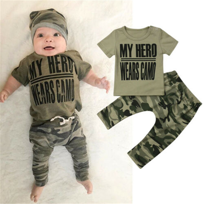 0-18 monate Baby Jungen Kleidung Set Brief Drucken Tops T-Shirt Für Jungen Grünen Kurzarm T Shirts Jungen camouflage Hosen Baby Set