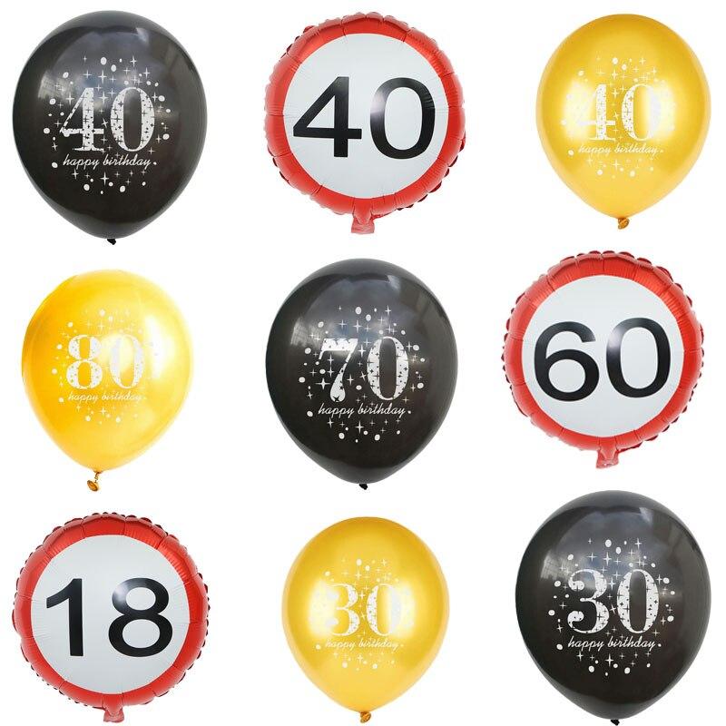 Hot 10 pçs/lote Balão De Látex De Aniversário Número de Escrita 16 18 30 40 50 60 70 80 90 anos de idade Balão Digital de Aniversário Decoração Suprimentos