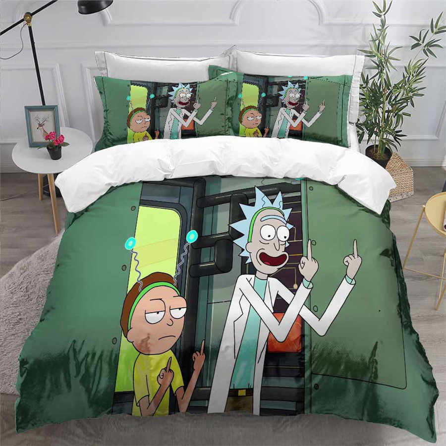 HELENGILI 3D Bedding Set Rick and Morty Print Duvet Cover Set Bedcloth with Pillowcase Bed Set Home Textiles #RAM06