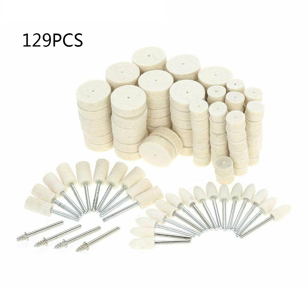 129pc Abrasive Polishing Wheel Tools Wool Metal Rotary Buffing Tool Wool Polishing Wheel Set 2019 New Style