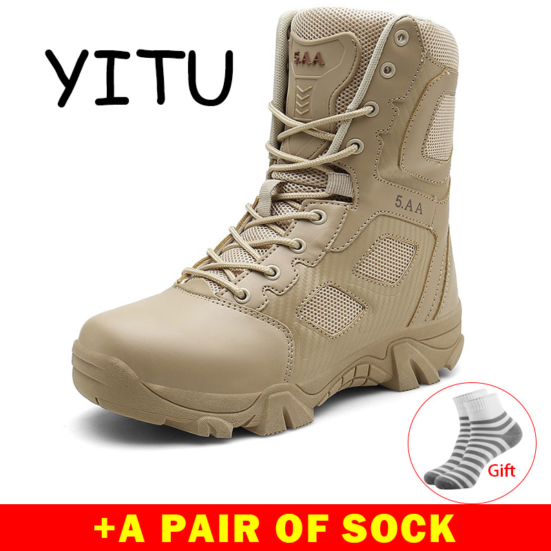 YITU Breathable Mesh Military Boots Tactical Men's Outdoor Hiking Boots Winter Leather Combat Boots Black Sport Sneakers Shoes-in Hiking Shoes from Sports & Entertainment    1