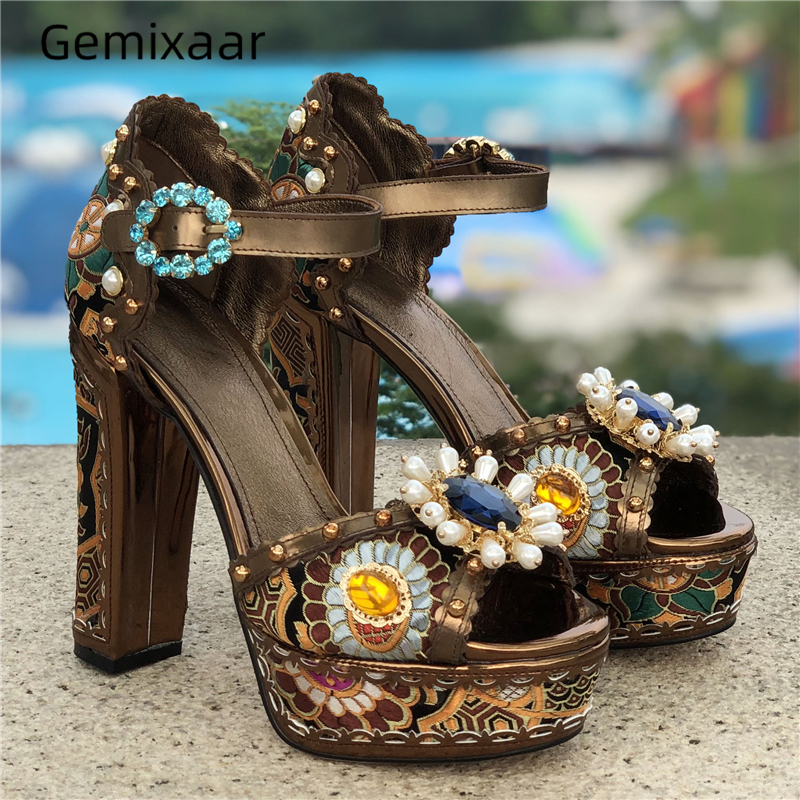 Brown Silk Women Sandals Peep Toe Decor Pearls Ankle Buckle Studded Crystal Shoes Chunky High Heel Print Flowers woman Sandals