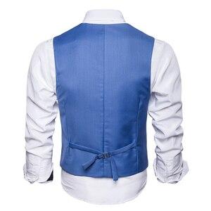 Image 2 - Mężczyźni garnitur kamizelka jesień nowa solidna kurtka bez rękawów Business Casual mężczyzna kamizelka społeczna czarny szary niebieski moda Plus rozmiar kamizelka