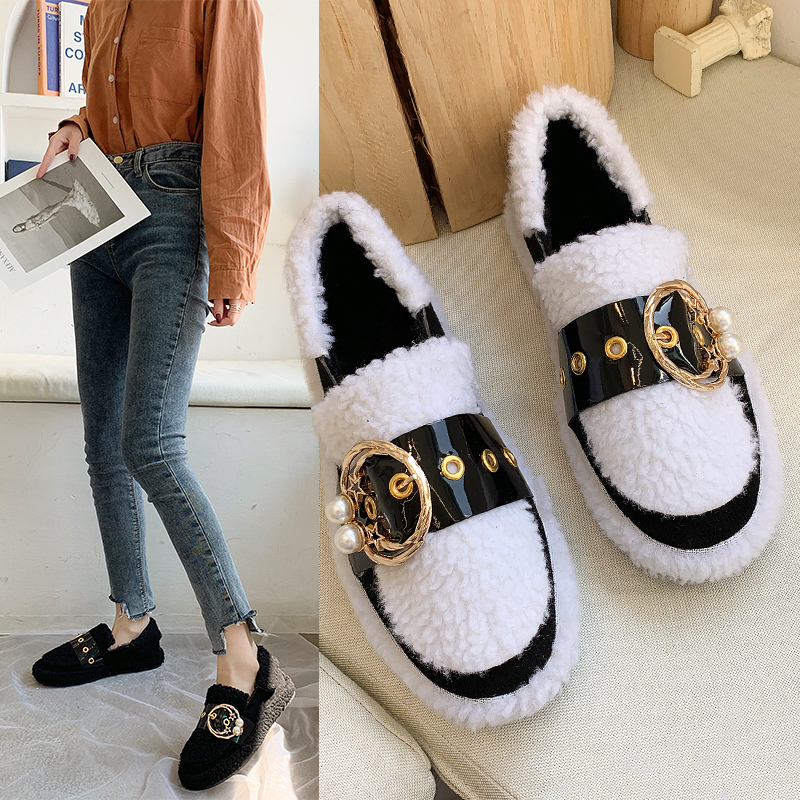 Women's Winter Flat Shoes Korean Suede Short Plush Lining Ladies Casual Sneakers Rubber Non-slip Bottom Winter Warm Womenshoes 35