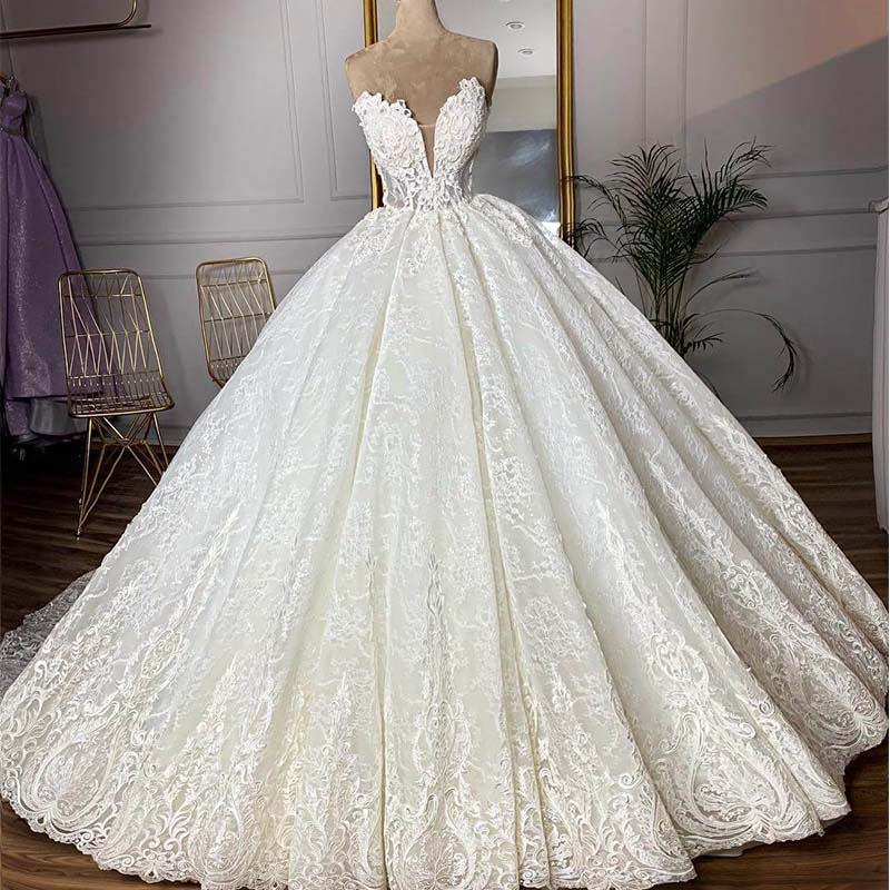 Robe De Mariee Gorgeous Full Lace Ball Gown Wedding Dress Sweetheart Beaded Lace Appliques Bridal Dresses