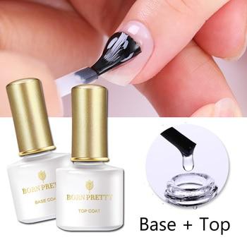BORN PRETTY No Wipe Top Coat Base Coat UV Gel Long Lasting Nail Gel Shiny Sealer Set Soak off Top Base Nail Varnish