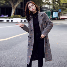 New Plaid Woolen Coat Women Autumn and Winter 2019 Fashion Houndstooth Plaid Double Breasted Wide-waisted Long Wool Blends Coat