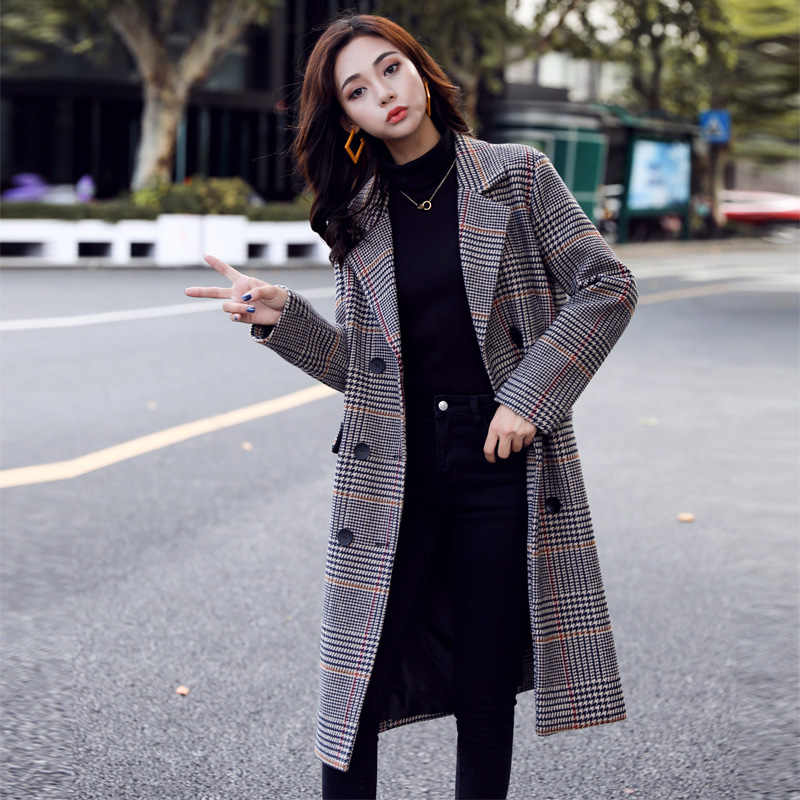 Nieuwe Plaid Wollen Jas Vrouwen Herfst en Winter 2019 Mode Houndstooth Plaid Double Breasted Brede taille Lange Wol Blends jas