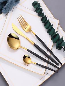 Cutlery-Set Black Dinnerware-Set Spoons Polishing-Fork Kitchen 304-Stainless-Steel Golden