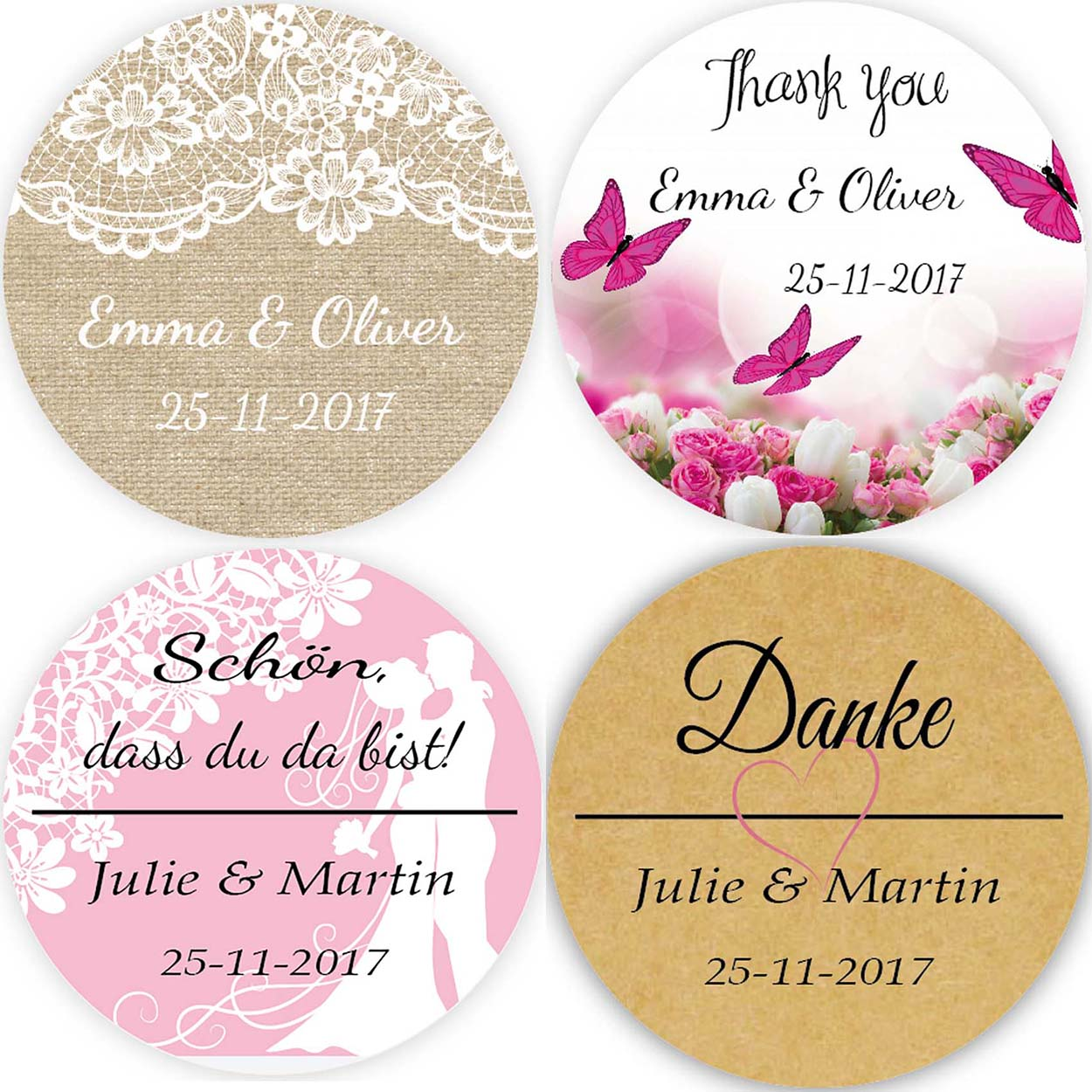 DouxArt 100 Pieces 4CM Personalized Wedding Stickers, Wedding Favors Labels, Party Communion Baptism Gifts Package Seals