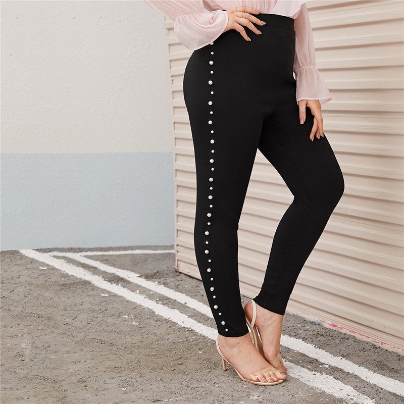 Plus Size Pearl Embellished Black Skinny Pants