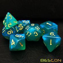 Bescon Набор кубиков из лунного камня, Bescon многогранные игральные кости для ролевых игр с эффектом лунного камня павлин синий, бирюзовый, фиолетовый жемчуг