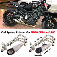 MT09 FZ09 Motorcycle Exhaust muffler contact pipe exhaust Full System Slip On For yamaha FZ 09 MT 09 MT 09 2014 2018 XSR900