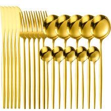Золото Цвет Нержавеющаясталь Ножи столовая ложка вилка набор