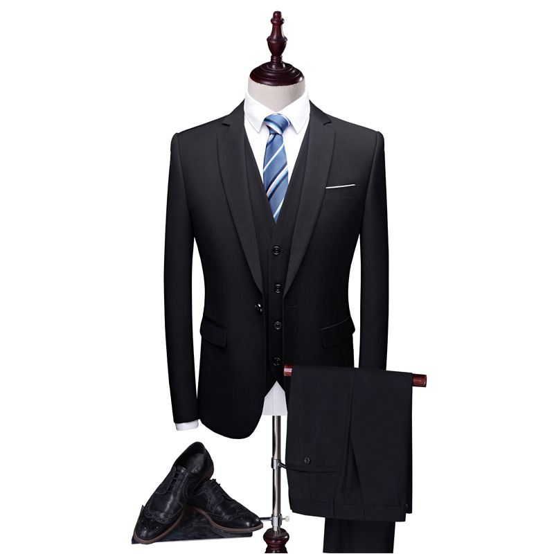 Suit Men Three-piece Set Business Suit Business Formal Wear Slim Fit Autumn Groom Service Marriage Best Man Formal Dress