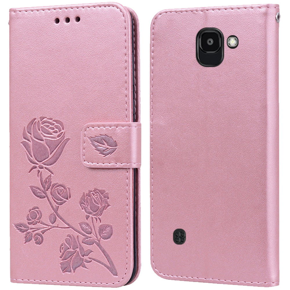 Luxury Leather Flip Book Case for <font><b>LG</b></font> K3 2017 US110 K3 Lte <font><b>K100</b></font> K100DS LS450 Rose Flower Wallet Stand Case Phone Cover Bag coque image