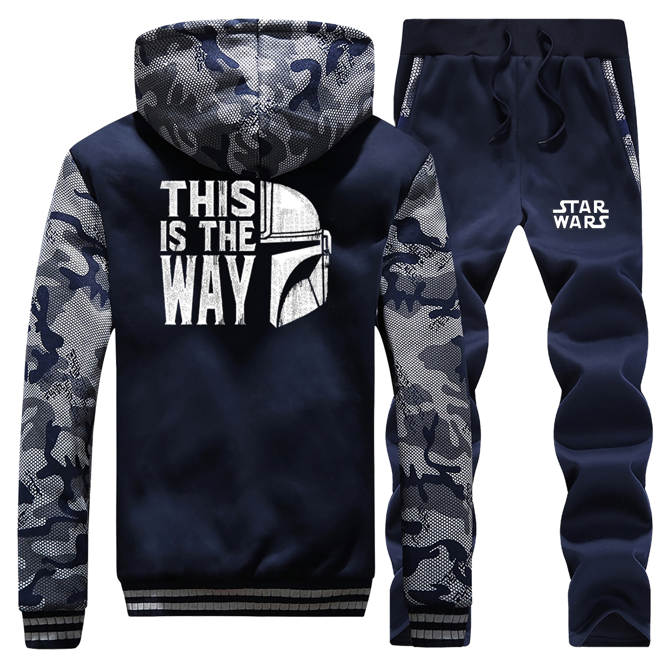 Men Winter Camo Jackets This Is The Way Baby Yoda Mandalorian Pans Sets Thick Fleece Jacket Cartoon Hoodies Sweatshirts Jackets