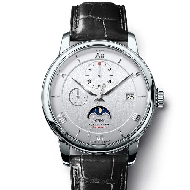 Suíça marca de luxo lobinni men relógios gaivota relógio automático mecânico masculino safira fase da lua 50m à prova dwaterproof água L1888 1