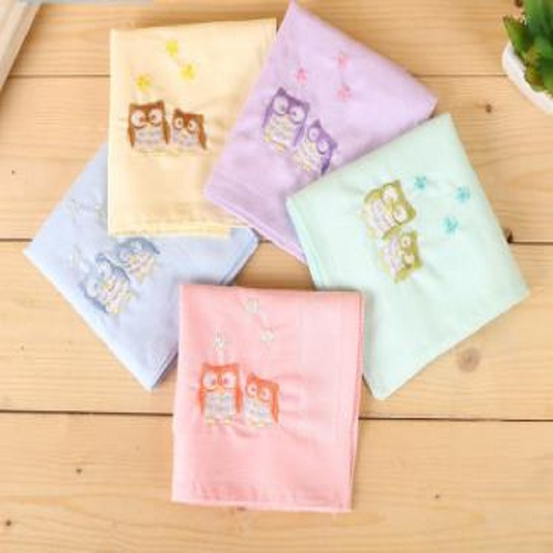 12pcs 40*40cm New 100% Cotton Plain Embroidered Logo Handkerchiefs Business Women Handkerchief