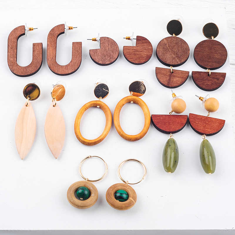 2019 Summer New Fashion Wood Stud Earrings Statement Nature Exquisite Ear Accessories For Women Summer Jewelry Drop Shipping