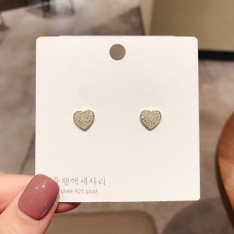 Exquisite Classic Small Heart Earrings Gold Color Micro Paved Cubic Zirconia Earrings for Women Girls Gift Jewelry
