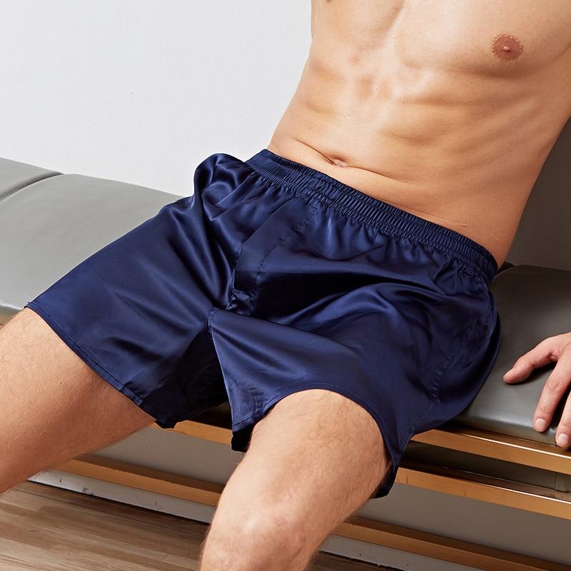 New Sleep Bottoms Loose Men's Satin Silk Pijama Shorts Summer Male Sleepwear Soft Boxer Underwear Sexy Nightwear Underpants