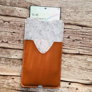Image 5 - Saco de telefone, para samsung galaxy note10 plus 6.8 ultra fino artesanal lã sentiu capa de manga do telefone para galaxy note10 mais acessórios